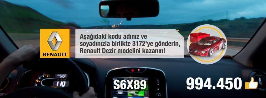 Renault Türkiye Facebook'ta 1.000.000 Yolunda!