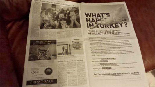 Gezi Parkı İlanı New York Times Sayfalarında