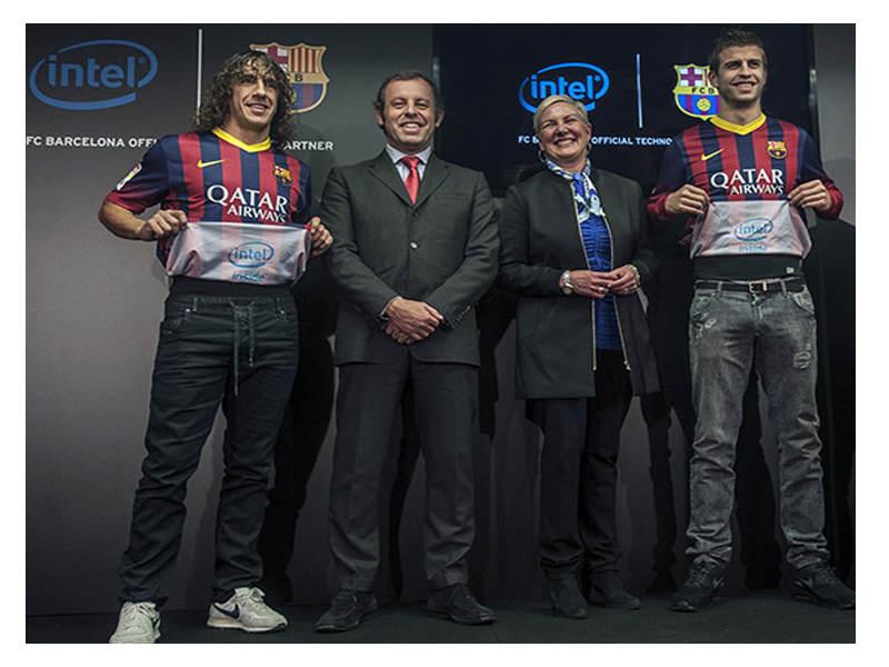 Barcelonalı Futbolcuların Gol Sevinci Intel'in Yeni Reklam Mecrası Olacak
