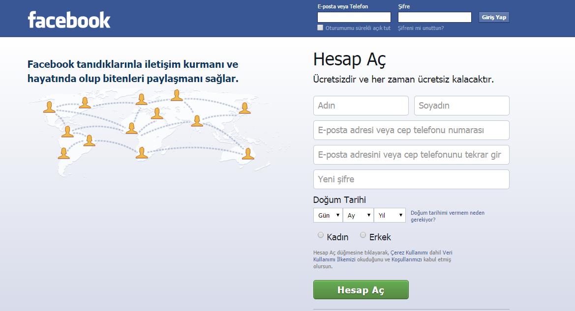 Facebook üyelik