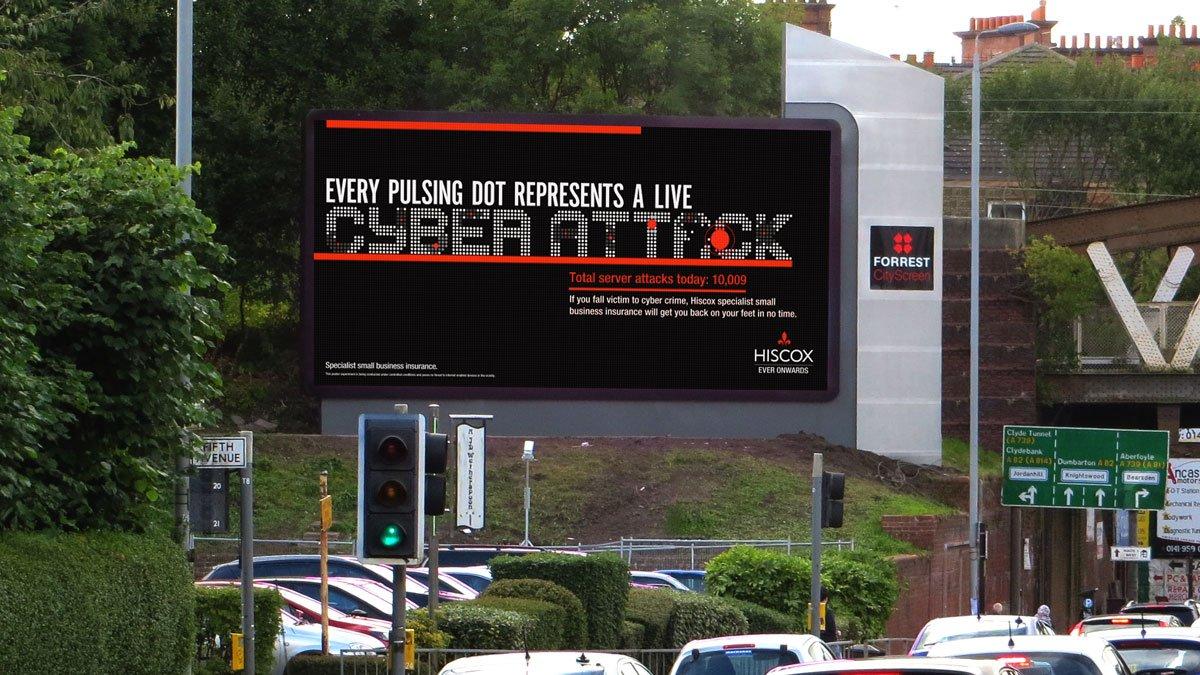 İşletmelerin Web Sitelerine Yapılan Saldırıları Gösteren Reklam Panoları