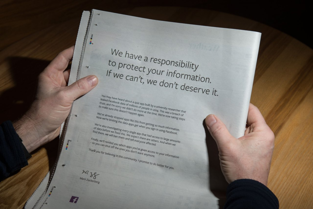 Facebook, Birçok Gazetede Tam Sayfa Özür Reklamı Yayımladı