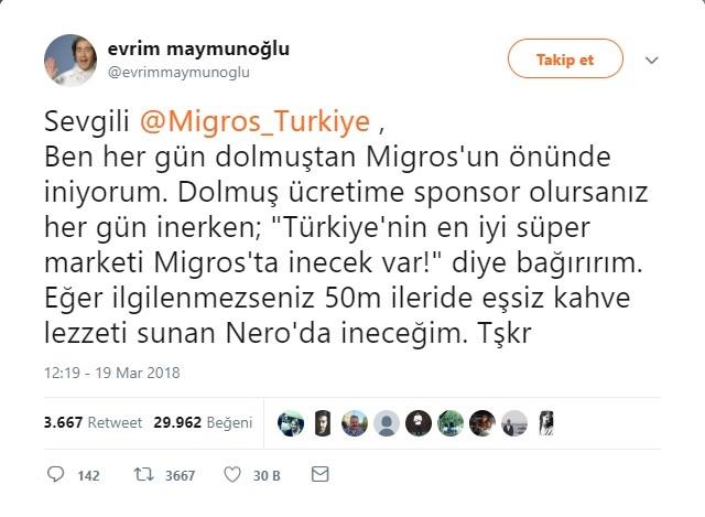 Migros'tan Dolmuş Parasına Sponsor Olmasını İsteyen Twitter Kullanıcısı
