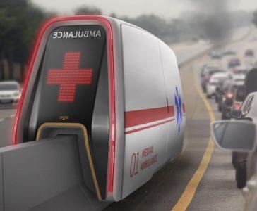 Trafik Sıkışıklığından Etkilenmeyen ve Refüj Üzerinde Giden Ambulans