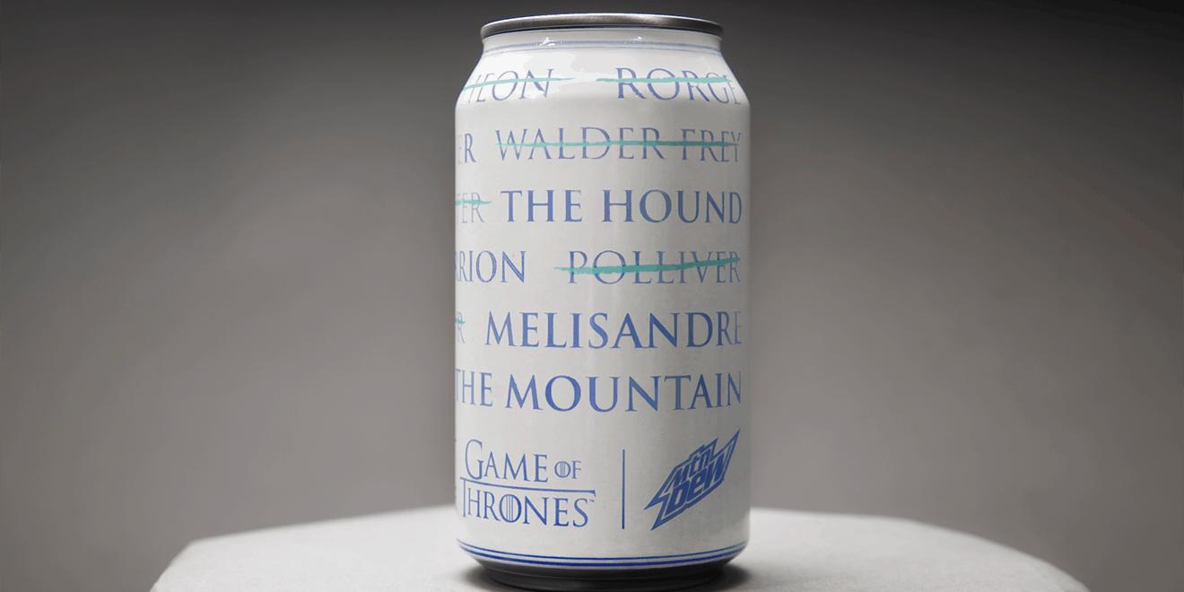 Mountain Dew'den, Soğuduğunda Üzerinde Arya Stark'ın Ölüm Listesi Beliren Ambalaj Tasarımı