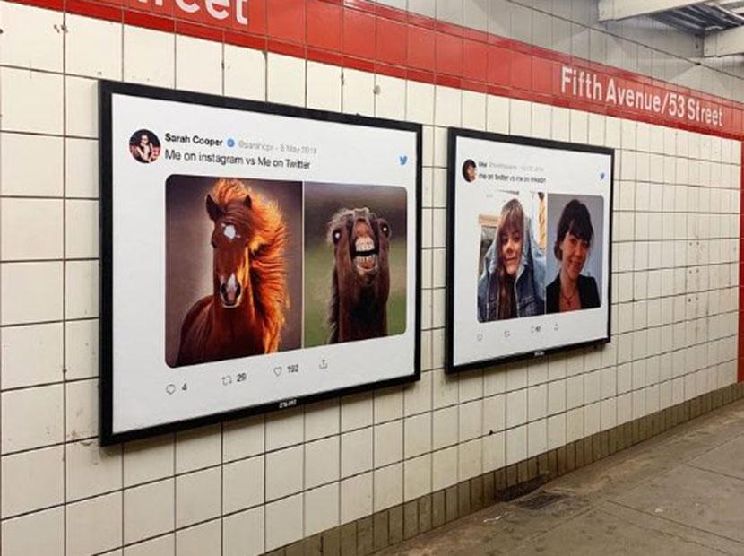 Twitter'ın Instagram İle Karşılaştırıldığı Eğlenceli Reklam Panoları