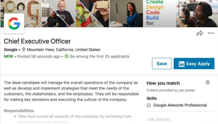LinkedIn'deki Sahte İş İlanı Herkesin Google CEO'su Olmak İçin Başvurmasına İzin Verdi