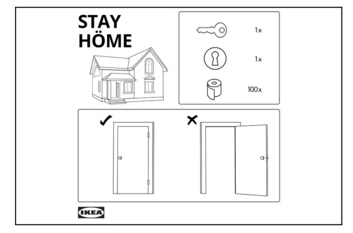 IKEA'dan Talimat Kitapçığı ile 'Evde Kal' Mesajı