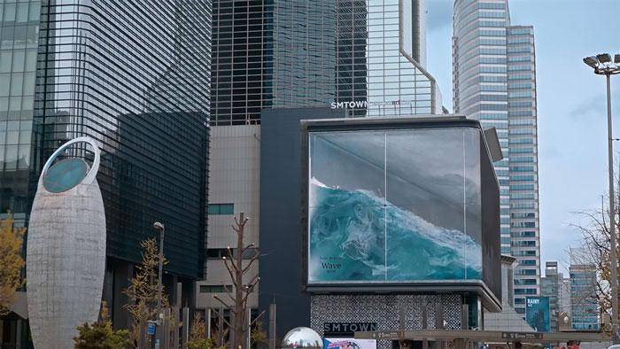 3D Okyanus Dalgası İçeren Reklam Panosu