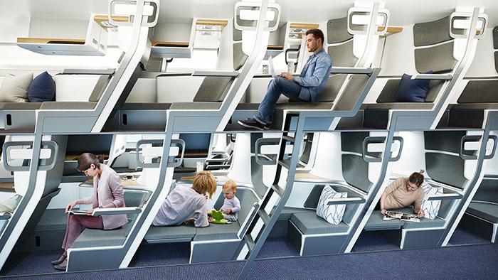 Ekonomi Sınıfı Yolcularının Yatabilecekleri Yeni Uçak Koltuğu Tasarımı
