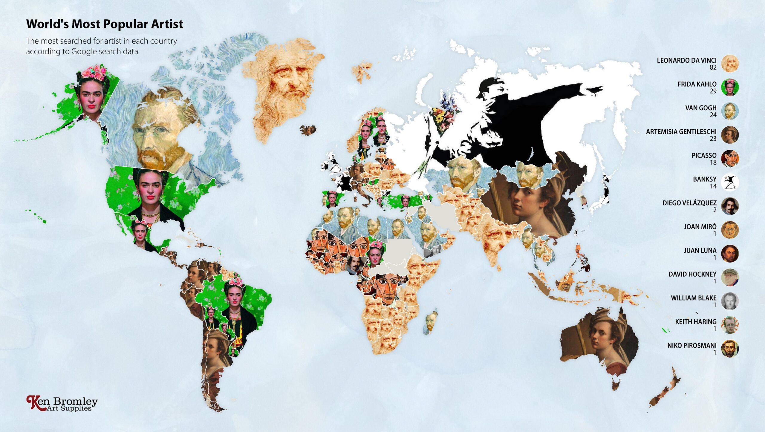 Google Verilerine Göre Ülkelerdeki En Ünlü Sanatçılar Haritalandı