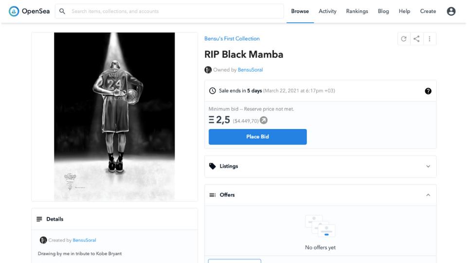 Bensu Soral'ın NFT Eseri Olan RIP Black Mamba Satıldı